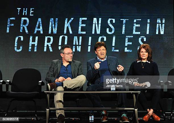 Writer/director Benjamin Ross actor Sean Bean and producer Tracey Scoffield attend The Frankenstein Chronicles panel during the AE Networks 2016...