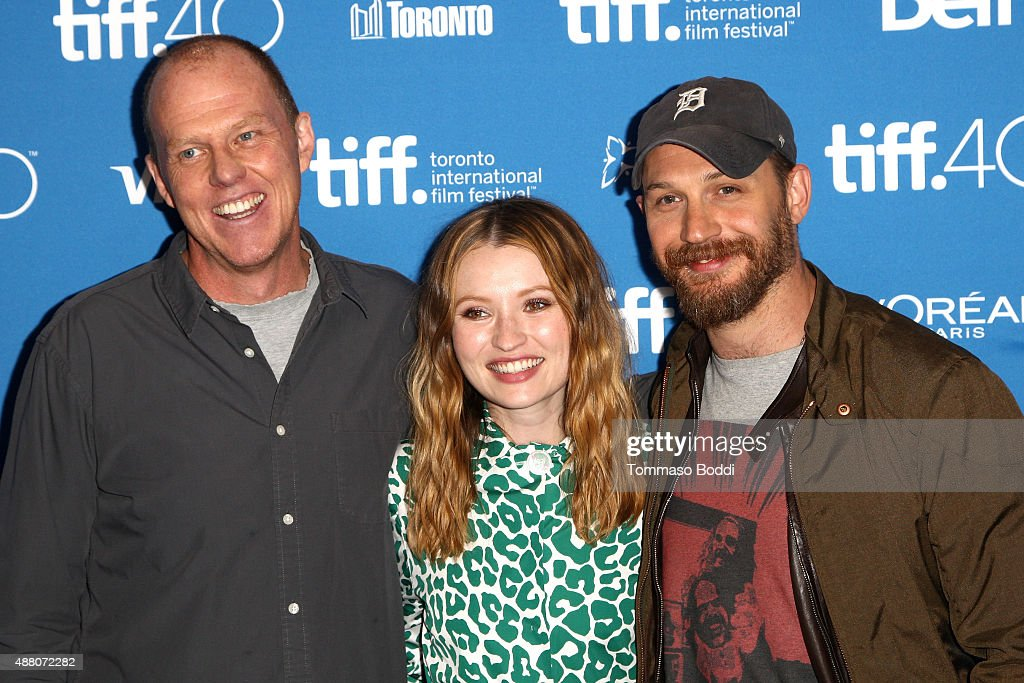 Writer/director Brian Helgeland, actress Emily Browning and actor Tom Hardy pose during the 'Legend' press conference at the 2015 Toronto International Film Festival at TIFF Bell Lightbox on September 13, 2015 in Toronto, Canada.