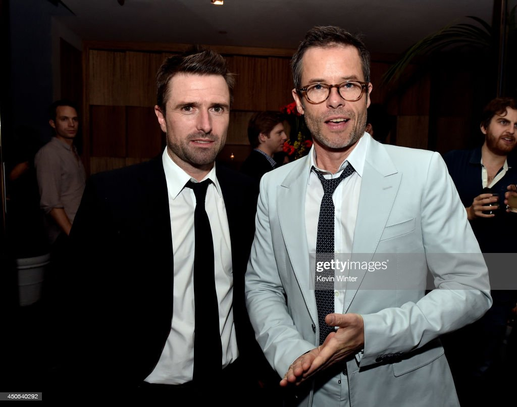 Writer/director David Michod and actor Guy Pearce pose at the after party for the premiere of A24's 'The Rover' at The W Hotel on June 12 2014 in Los...
