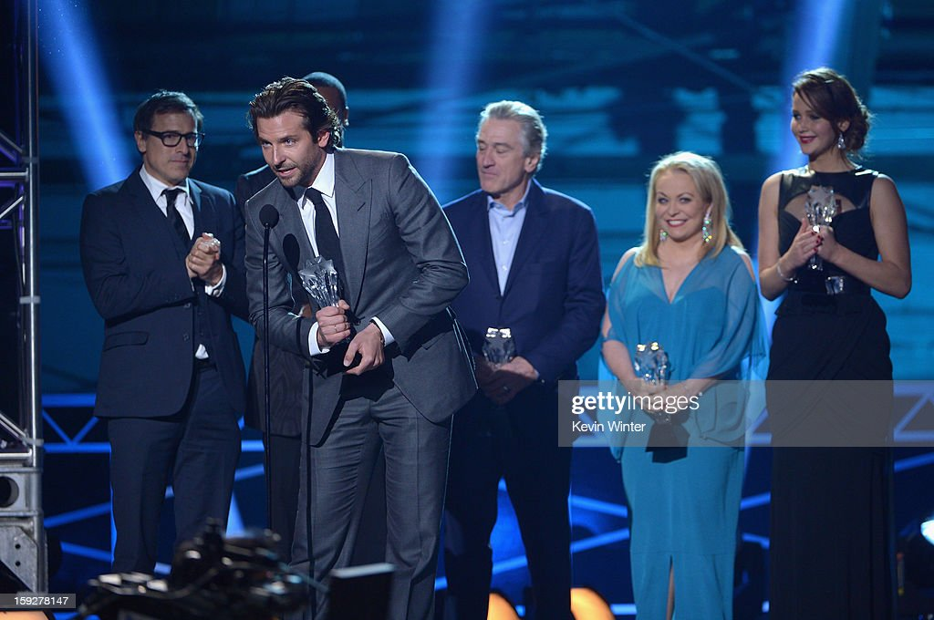 Writer/Director David O. Russell, actors Bradley Cooper, Robert De Niro, Jacki Weaver and Jennifer Lawrence accept the Best Acting Ensemble Award for 'Silver Linings Playbook' onstage at the 18th Annual Critics' Choice Movie Awards held at Barker Hangar on January 10, 2013 in Santa Monica, California.