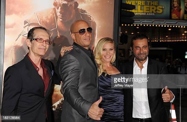 Writer/director David Twohy actors Vin Diesel Katee Sackoff and Jordi Molla arrive at the Los Angeles premiere of 'Riddick' at the Westwood Village...