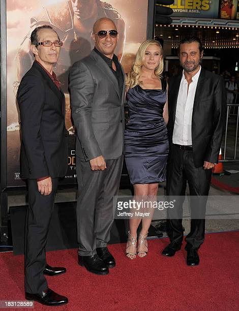 Writer/director David Twohy actors Vin Diesel Katee Sackoff and Jordi Molla arrive at the Los Angeles premiere of 'Riddick' at the Westwood Village...
