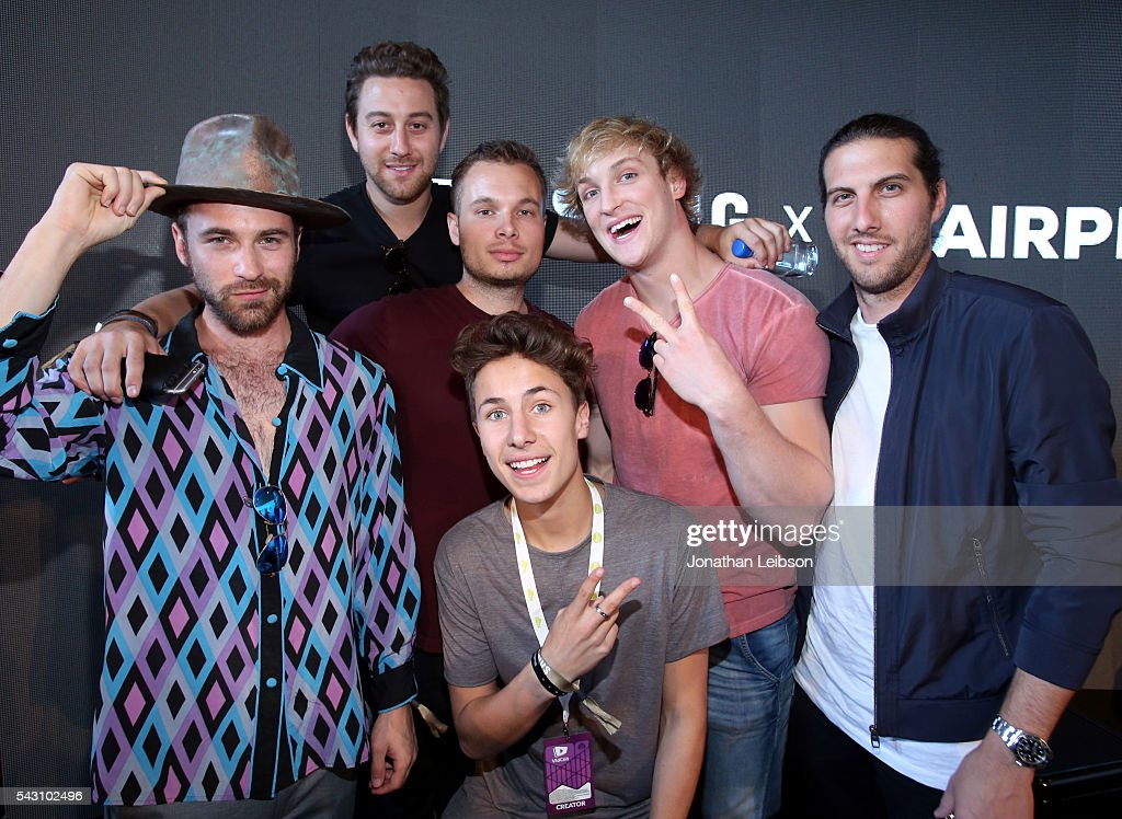 Writer/director Dylan Trussell, producer Jeff Levin, actor Juanpa Zurita, actor/producer Logan Paul, producer Andrew Alter, and cinematophrapher Colt Seman attend 'Airplane Mode' at the Samsung Creator's Lounge At VidCon 2016 on June 23, 2016 in Anaheim, California.