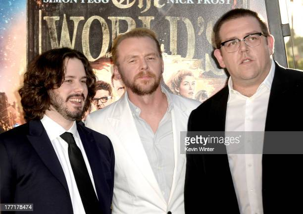 Writer/director Edgar Wright actor/writer Simon Pegg and actor Nick Frost arrive at the premiere of Focus Features' 'The World's End' at ArcLight...