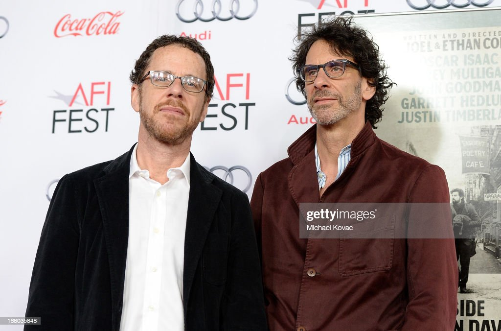 Writer/director <a gi-track='captionPersonalityLinkClicked' href=/galleries/search?phrase=Ethan+Coen&family=editorial&specificpeople=1130888 ng-click='$event.stopPropagation()'>Ethan Coen</a> (L) and writer/director <a gi-track='captionPersonalityLinkClicked' href=/galleries/search?phrase=Joel+Coen&family=editorial&specificpeople=4292064 ng-click='$event.stopPropagation()'>Joel Coen</a> attend the AFI FEST 2013 presented by Audi closing night gala screening of 'Inside Llewyn Davis' at TCL Chinese Theatre on November 14, 2013 in Hollywood, California.