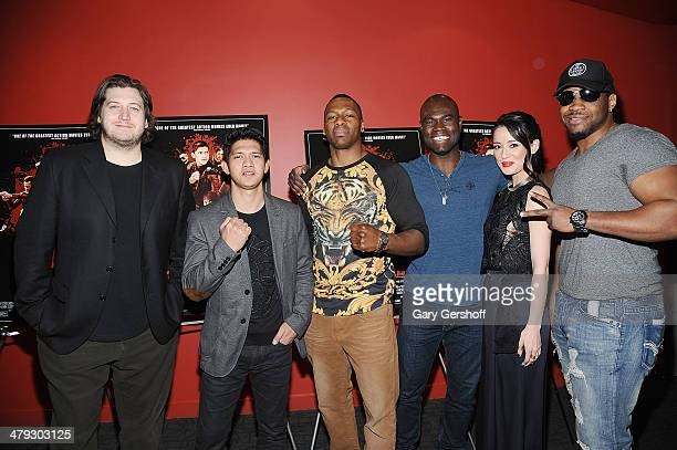 Writer/director Gareth Evans actor Iko Uwais kickboxer Wayne Barrett mixed martial artist Uriah Hall actress Julie Estelle and professional boxer...