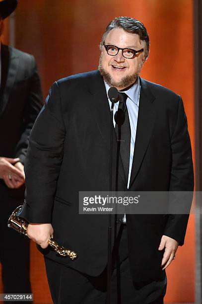 Writerdirector Guillermo del Toro accepts the Anthony Quinn Award for Achievement in Film onstage during the 2014 NCLR ALMA Awards at the Pasadena...