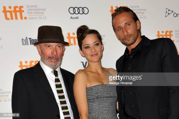 Writer/Director Jacques Audiard actress Marion Cotillard and actor Matthias Schoenaerts attend the 'Rust Bone' premiere during the 2012 Toronto...