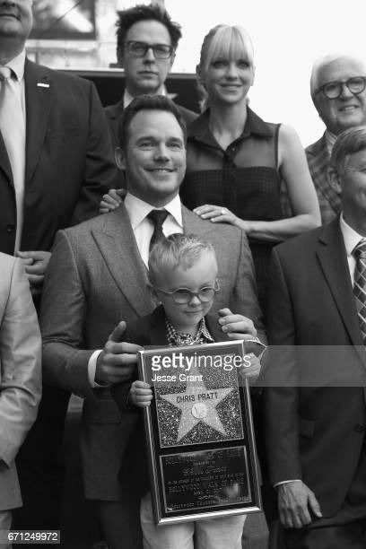 Writer/director James Gunn actors Anna Faris Chris Pratt and Jack Pratt at the Chris Pratt Walk Of Fame Star Ceremony on April 21 2017 in Hollywood...