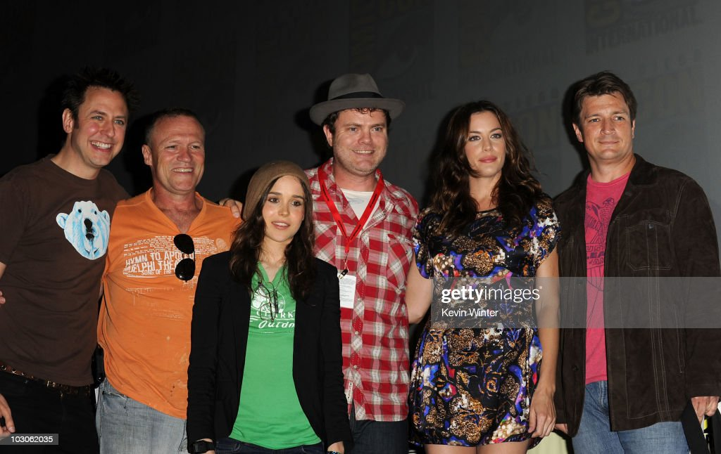 Writer/Director <a gi-track='captionPersonalityLinkClicked' href=/galleries/search?phrase=James+Gunn&family=editorial&specificpeople=669760 ng-click='$event.stopPropagation()'>James Gunn</a>, actors <a gi-track='captionPersonalityLinkClicked' href=/galleries/search?phrase=Michael+Rooker&family=editorial&specificpeople=640228 ng-click='$event.stopPropagation()'>Michael Rooker</a>, <a gi-track='captionPersonalityLinkClicked' href=/galleries/search?phrase=Ellen+Page&family=editorial&specificpeople=623049 ng-click='$event.stopPropagation()'>Ellen Page</a>, <a gi-track='captionPersonalityLinkClicked' href=/galleries/search?phrase=Rainn+Wilson&family=editorial&specificpeople=534993 ng-click='$event.stopPropagation()'>Rainn Wilson</a>, <a gi-track='captionPersonalityLinkClicked' href=/galleries/search?phrase=Liv+Tyler&family=editorial&specificpeople=202094 ng-click='$event.stopPropagation()'>Liv Tyler</a> and <a gi-track='captionPersonalityLinkClicked' href=/galleries/search?phrase=Nathan+Fillion&family=editorial&specificpeople=834463 ng-click='$event.stopPropagation()'>Nathan Fillion</a> pose onstage at the 'Super' panel discussion during Comic-Con 2010 at San Diego Convention Center on July 23, 2010 in San Diego, California.
