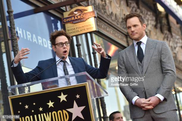Writer/director James Gunn and actor Chris Pratt attend the ceremony honoring Chris Pratt with a star on the Hollywood Walk of Fame on April 21 2017...
