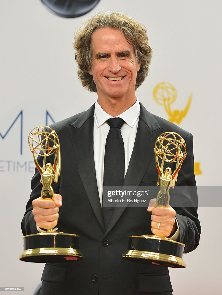 Writer/director <a gi-track='captionPersonalityLinkClicked' href=/galleries/search?phrase=Jay+Roach&family=editorial&specificpeople=2576157 ng-click='$event.stopPropagation()'>Jay Roach</a> poses in the 64th Annual Emmy Awards press room at Nokia Theatre L.A. Live on September 23, 2012 in Los Angeles, California.