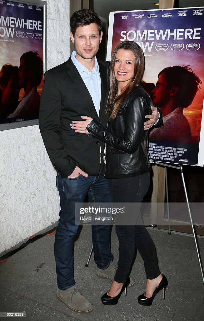 Writer/director Jeremy O'Keefe (L) and actress <a gi-track='captionPersonalityLinkClicked' href=/galleries/search?phrase=Melissa+Claire+Egan&family=editorial&specificpeople=4164662 ng-click='$event.stopPropagation()'>Melissa Claire Egan</a> attend a screening of Logolite Entertainment & Screen Media Films' 'Somewhere Slow' at Arena Cinema Hollywood on January 31, 2014 in Hollywood, California.