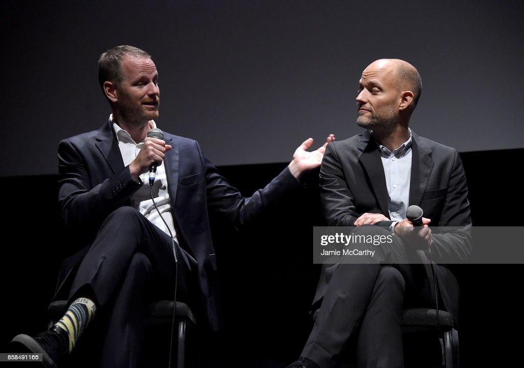 Writer/director Joachim Trier and co-writer Eskil Vogt attend the 55th New York Film Festival - 'Thelma' at Alice Tully Hall on October 6, 2017 in New York City.