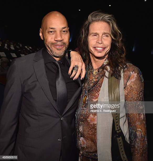Writer/director John Ridley and singer Steven Tyler arrive to the Los Angeles premiere of 'Jimi All Is By My Side' at ArcLight Cinemas on September...
