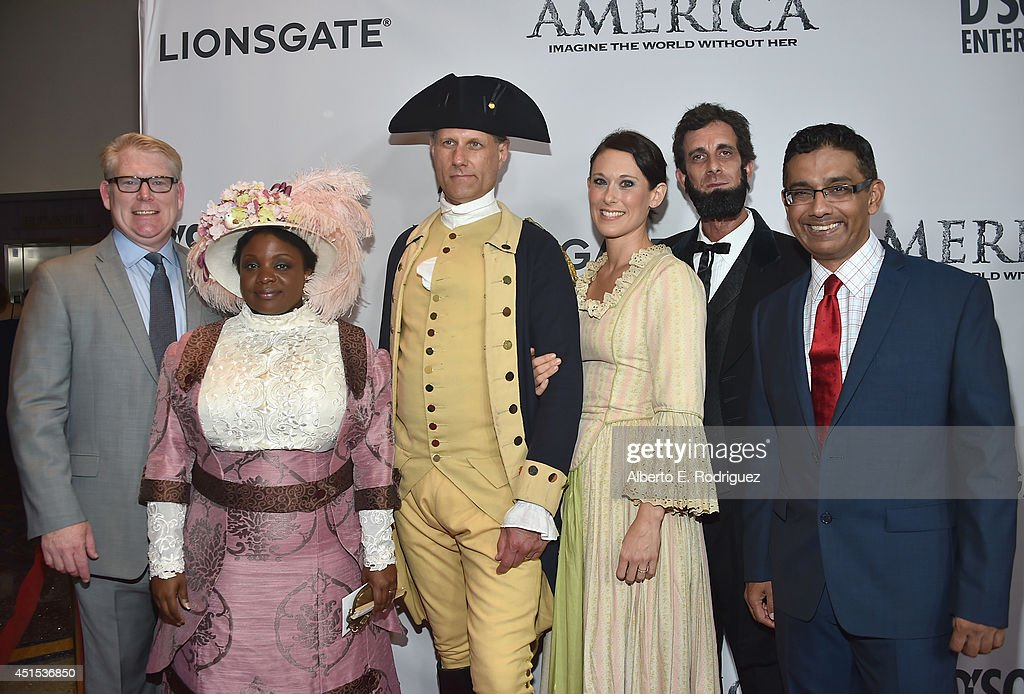 Writer/director John Sullivan, actress Janitta Swain, actor John Koopman, actress Caroline Granger, actor Don Taylor and writer/director Dinesh D'Souza attend the premiere of Lionsgate Films' 'America' at Regal Cinemas L.A. Live on June 30, 2014 in Los Angeles, California.