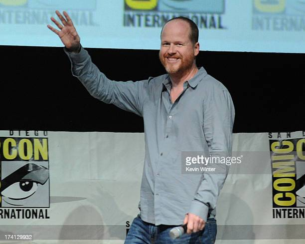 Writer/director Joss Whedon speaks onstage at Marvel Studios 'Thor The Dark World' and 'Captain America The Winter Soldier' during ComicCon...