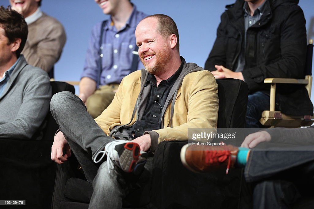 Writer/director <a gi-track='captionPersonalityLinkClicked' href=/galleries/search?phrase=Joss+Whedon&family=editorial&specificpeople=2212235 ng-click='$event.stopPropagation()'>Joss Whedon</a> speaks onstage at the Much Ado About Much Ado Panel during the 2013 SXSW Music, Film + Interactive Festival at Austin Convention Center on March 9, 2013 in Austin, Texas.