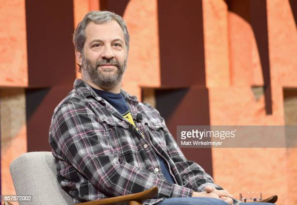Writer/director Judd Apatow speaks onstage during Vanity Fair New Establishment Summit at Wallis Annenberg Center for the Performing Arts on October...