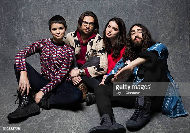 Writer/Director Kerem Sanga Brianna Hildebrand Dylan Gelula and Mateo Arias from the film 'First Girl I Loved' pose for a portrait at the 2016...