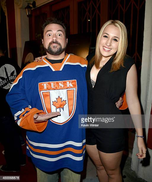 Writer/director Kevin Smith and his daughter Harley Quinn Smith arrive at the premiere of A24's 'Tusk' at the Vista Theatre on September 16 2014 in...