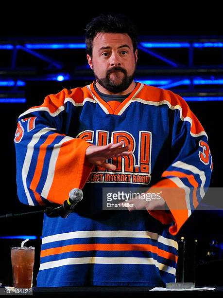 Writer/director Kevin Smith performs his comedy podcast 'Jay Silent Bob Get Old' with actor Jason Mewes at the Hard Rock Cafe on the Strip November 4...