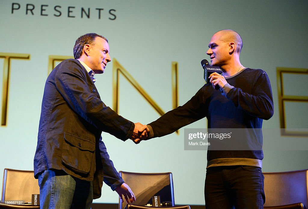 Writer/director Kirk DeMicco of DreamWorks Animation and moderator Dominic Patten speak onstage during Deadline Hollywood's The Contenders on November 2, 2013 in Beverly Hills, California.