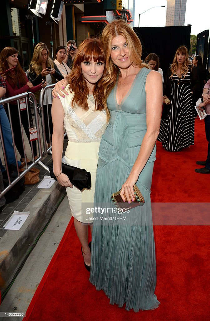Writer/Director Lorene Scafaria and Actress <a gi-track='captionPersonalityLinkClicked' href=/galleries/search?phrase=Connie+Britton&family=editorial&specificpeople=234699 ng-click='$event.stopPropagation()'>Connie Britton</a> arrive at the premiere of 'Seeking a Friend for the End of the World' at the 2012 Los Angeles Film Festival held at Regal Cinemas L.A. Live on June 18, 2012 in Los Angeles, California.