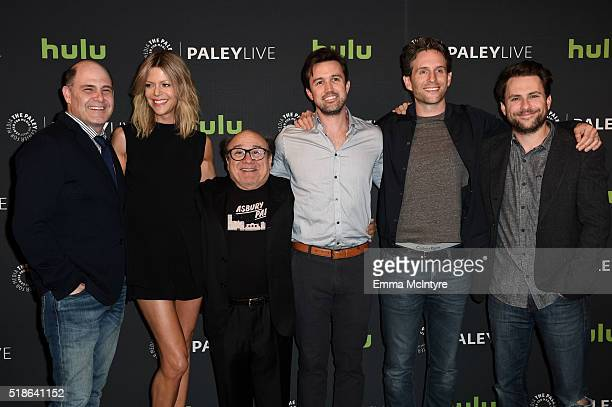 Writer/director Matthew Weiner actors Kaitlin Olson Danny DeVito Rob McElhenney Glenn Howerton and Charlie Day attend An Evening With 'It's Always...