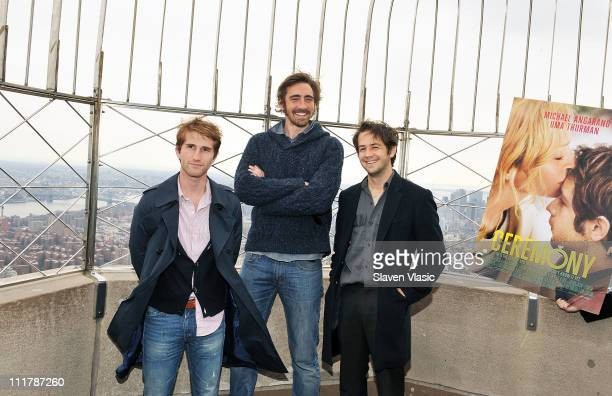 Writer/director Max Winkler cast members Lee Pace and Michael Angarano promoting their upcoming film 'Ceremony' visit The Empire State Building on...