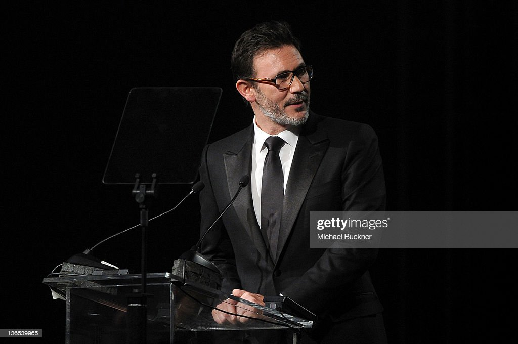 Writer/Director Michel Hazanavicius accepts the the Sonny Bono Visionary Award onstage during The 23rd Annual Palm Springs International Film Festival Awards Gala at the Palm Springs Convention Center on January 7, 2012 in Palm Springs, California.