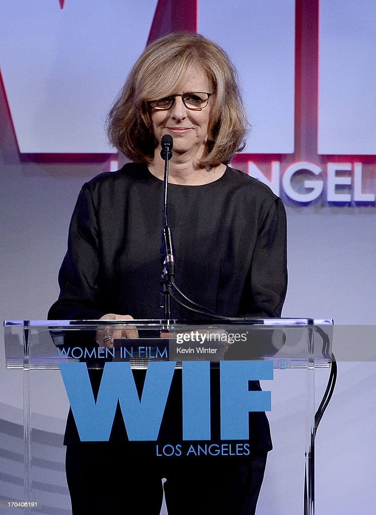 Writer/director <a gi-track='captionPersonalityLinkClicked' href=/galleries/search?phrase=Nancy+Meyers&family=editorial&specificpeople=240098 ng-click='$event.stopPropagation()'>Nancy Meyers</a> speaks onstage during Women In Film's 2013 Crystal + Lucy Awards at The Beverly Hilton Hotel on June 12, 2013 in Beverly Hills, California.