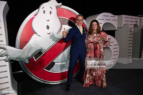 Writer/director Paul Feig and actress Melissa McCarthy attend the 'Ghostbusters' red carpet and Guinness World Record event at Marina Bay Sands on...