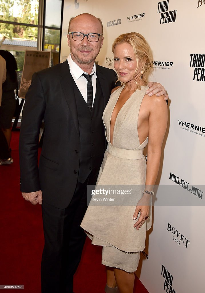 Writer/Director <a gi-track='captionPersonalityLinkClicked' href=/galleries/search?phrase=Paul+Haggis&family=editorial&specificpeople=213967 ng-click='$event.stopPropagation()'>Paul Haggis</a> (L) and actress <a gi-track='captionPersonalityLinkClicked' href=/galleries/search?phrase=Maria+Bello&family=editorial&specificpeople=201770 ng-click='$event.stopPropagation()'>Maria Bello</a> attend the premiere of Sony Picture Classics' 'Third Person' at Linwood Dunn Theater at the Pickford Center for Motion Study on June 9, 2014 in Hollywood, California.