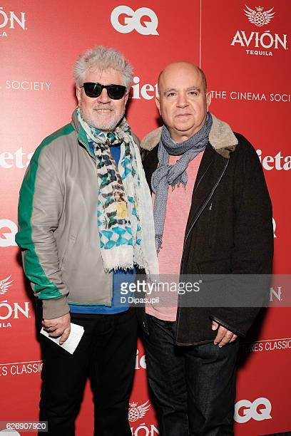 Writer/director Pedro Almodovar and brother Agustin Almodovar attend a screening of Sony Pictures Classics' 'Julieta' hosted by The Cinema Society...