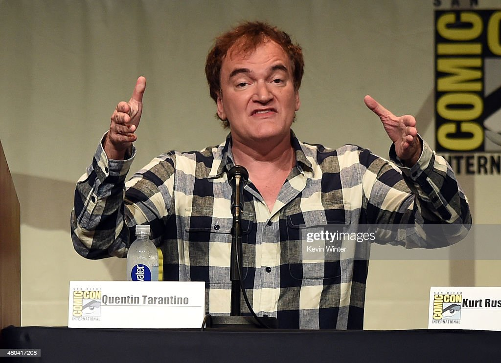 Writer/director <a gi-track='captionPersonalityLinkClicked' href=/galleries/search?phrase=Quentin+Tarantino&family=editorial&specificpeople=171796 ng-click='$event.stopPropagation()'>Quentin Tarantino</a> speaks onstage at <a gi-track='captionPersonalityLinkClicked' href=/galleries/search?phrase=Quentin+Tarantino&family=editorial&specificpeople=171796 ng-click='$event.stopPropagation()'>Quentin Tarantino</a>'s 'The Hateful Eight' panel during Comic-Con International 2015 at the San Diego Convention Center on July 11, 2015 in San Diego, California.