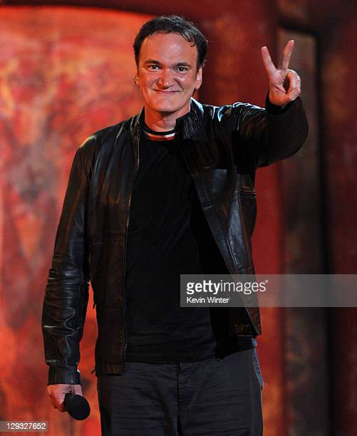 Writer/director Quentin Tarantino speaks onstage during Spike TV's 'SCREAM 2011' awards held at Universal Studios on October 15 2011 in Universal...