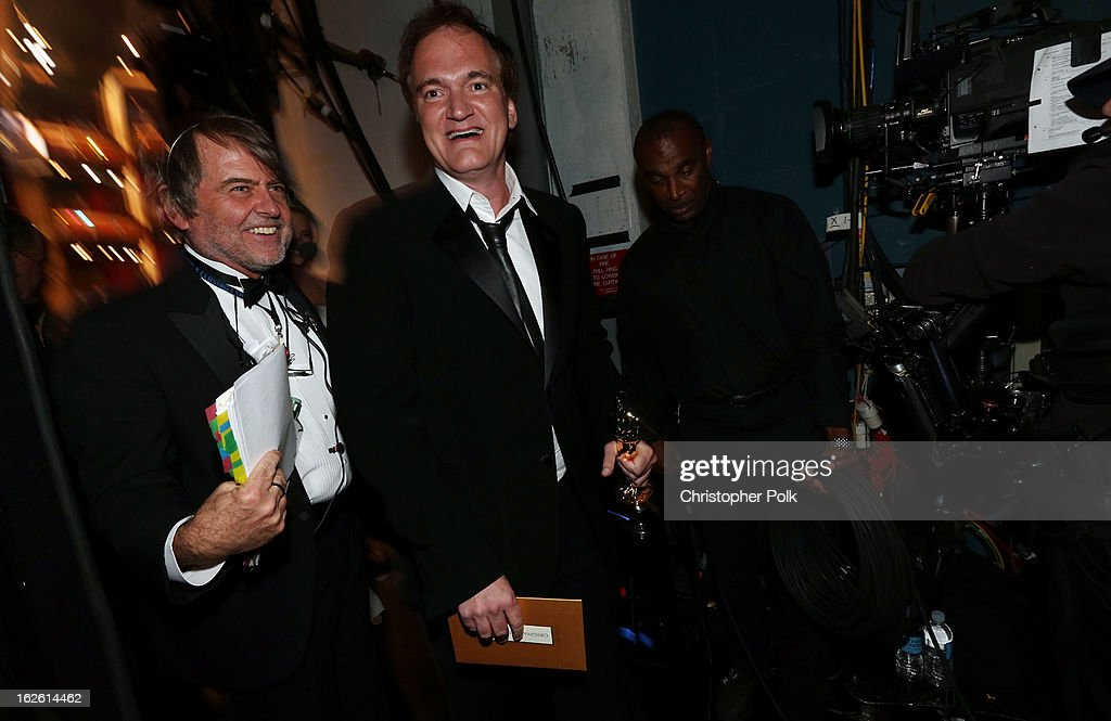 Writer/director Quentin Tarantino, winner of the award for Original Screenplay for Django Unchained, backstage during the Oscars held at the Dolby Theatre on February 24, 2013 in Hollywood, California.