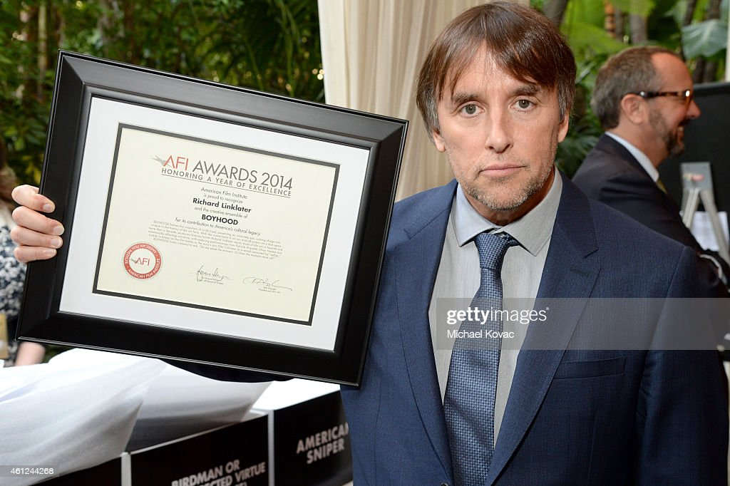 Writer/director Richard Linklater poses with an award at the 15th Annual AFI Awards Luncheon at Four Seasons Hotel Los Angeles at Beverly Hills on January 9, 2015 in Beverly Hills, California.