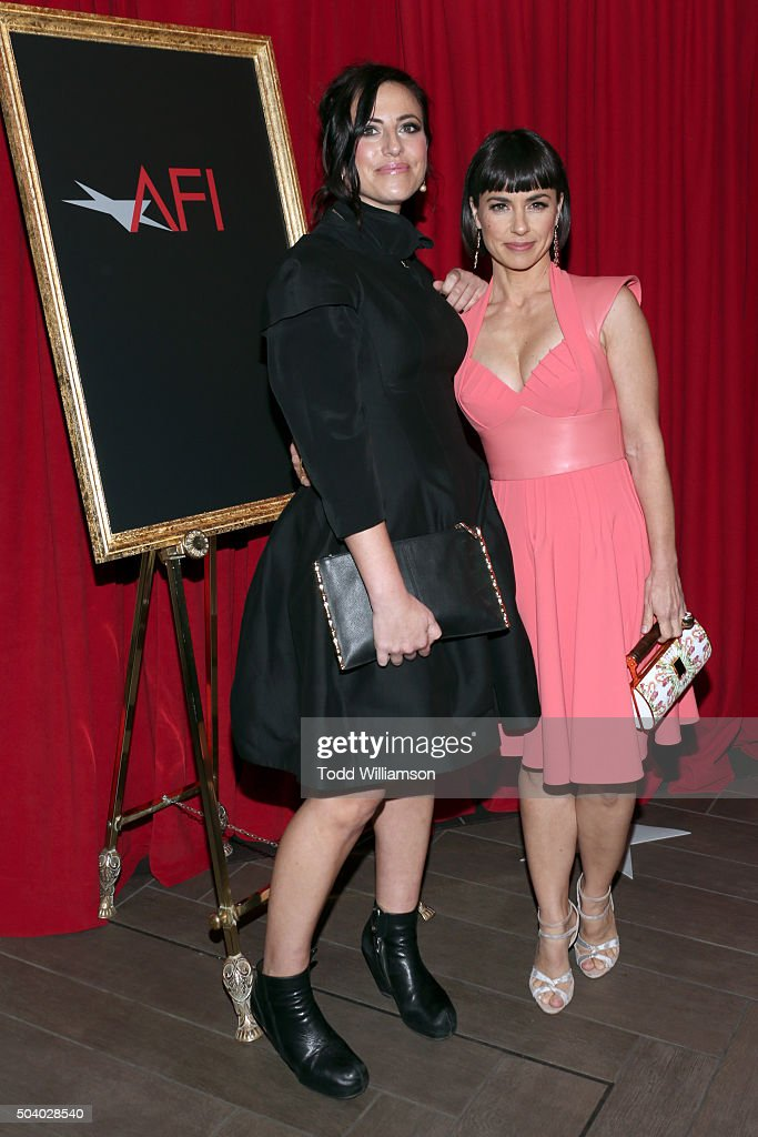Writer/director Sarah Gertrude Shapiro (L) and actress Constance Zimmer attend the 16th Annual AFI Awards at Four Seasons Hotel Los Angeles at Beverly Hills on January 8, 2016 in Beverly Hills, California.