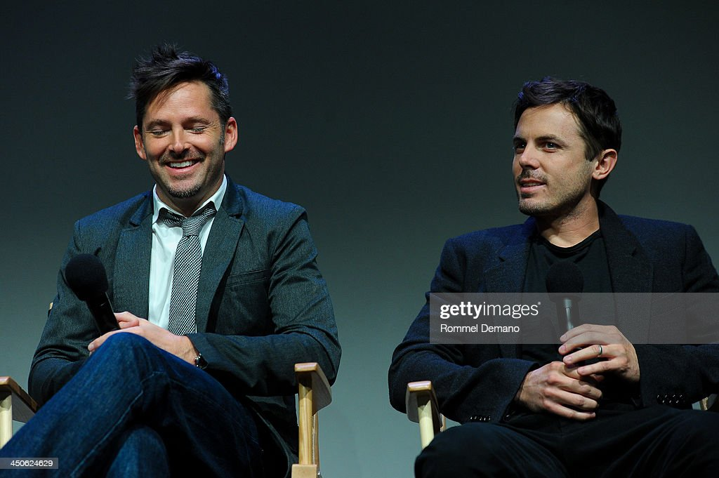Writer/Director Scott Cooper and Actor <a gi-track='captionPersonalityLinkClicked' href=/galleries/search?phrase=Casey+Affleck&family=editorial&specificpeople=1539212 ng-click='$event.stopPropagation()'>Casey Affleck</a> attend Meet the Filmmakers 'Out Of the Furnace' at the Apple Store Soho on November 19, 2013 in New York City.