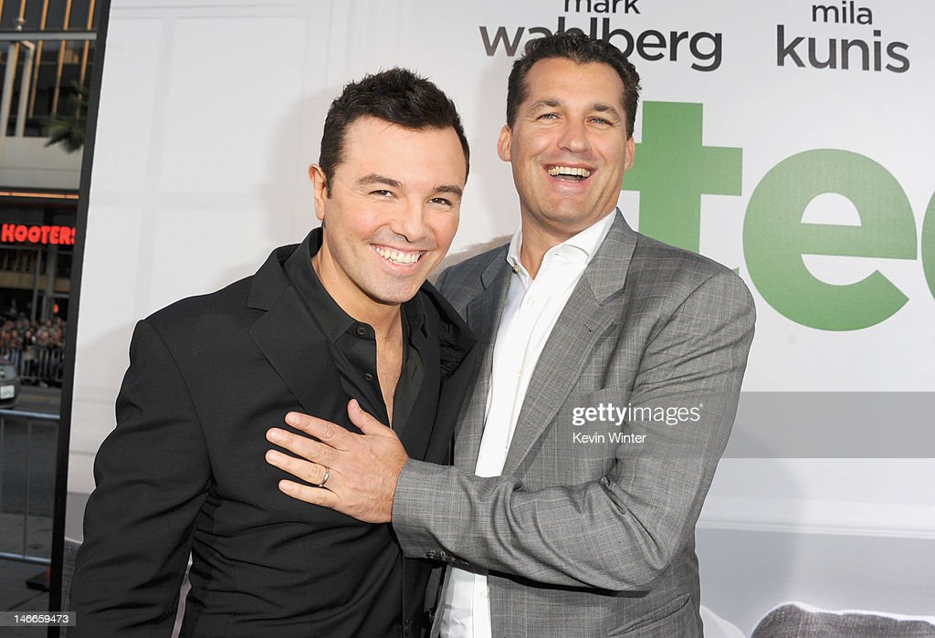 Writer/director Seth MacFarlane and producer Scott Stuber arrive at the Premiere of Universal Pictures' 'Ted' sponsored in part by AXE Hair at...