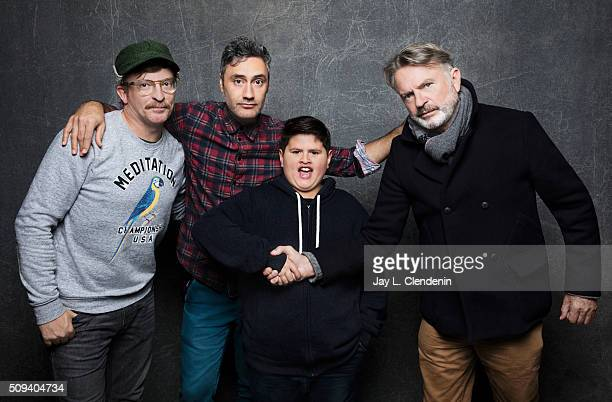 Writer/director Taika Waititi actors Rhys Darby Julian Dennison and Sam Neill of 'Hunt for the Wilderpeople' pose for a portrait at the 2016 Sundance...