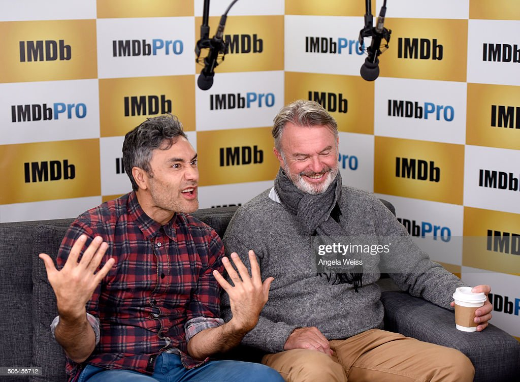 Writer/Director Taika Waititi (L) and actor Sam Neill in The IMDb Studio In Park City, Utah: Day Two - on January 23, 2016 in Park City, Utah.