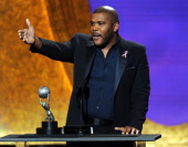 Writer/director Tyler Perry accepts the award for Outstanding Motion Picture onstage at the 42nd NAACP Image Awards held at The Shrine Auditorium on...