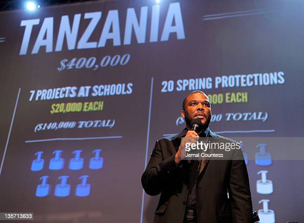 Writer/director Tyler Perry onstage during the auction at the 6th Annual CharityBall benefiting charitywater at the 69th Regiment Armory on December...