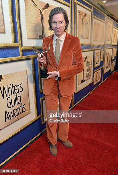 Writerdirector Wes Anderson poses with the Best Original Screenplay award for 'The Grand Budapest Hotel' during the 2015 Writers Guild Awards LA...