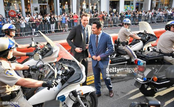 Writer/Director/Actor Dax Shepard and actor Michael Pena arrive at the Premiere Of Warner Bros Pictures' 'CHiPS' at TCL Chinese Theatre on March 20...