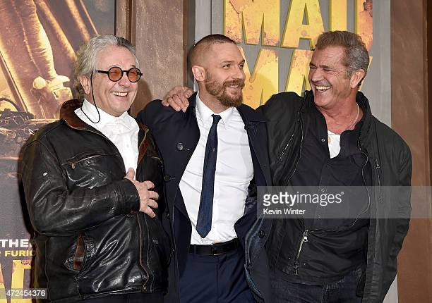Writer/Director/Producer George Miller actors Tom Hardy and Mel Gibson attend the premiere of Warner Bros Pictures' 'Mad Max Fury Road' at TCL...