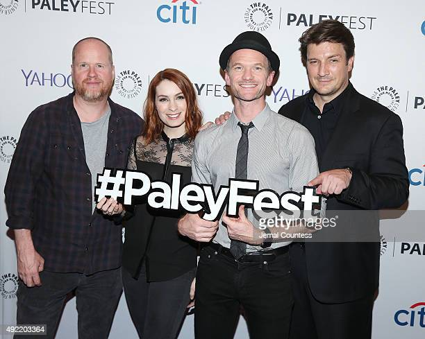 Writer/director/producer Joss Whedon actress Felicia Day actor Neil Patrick Harris and actor Nathan Fillion attend the 'Dr Horrible's SingAlong Blog...